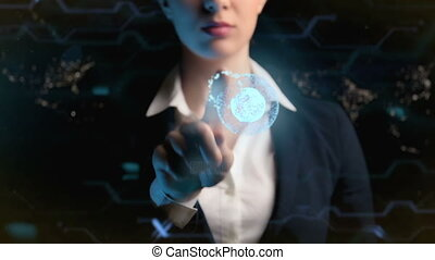 handlowy, megapolis, logo., używa, futurystyczny, tło, noc, kobieta, świat, miasta, hologram, ball.