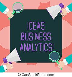 handlowy, metodyczny, fotografia, pokaz, analytics., pojęcia, analiza, pisanie, nuta, szkło, megaphone., badanie, dzierżawa wręcza, showcasing, organizacja, s, hu, dane, powiększający