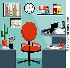 handlowy, miejsce pracy, z, biuro, rzeczy, wyposażenie,...