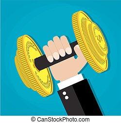 handlowy, moc, wykonawca, podnoszenie, barbell