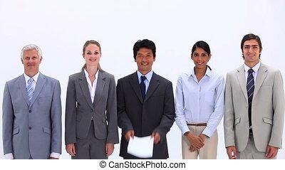 handlowy, multicultural, pytanie, znak, drużyna, marka