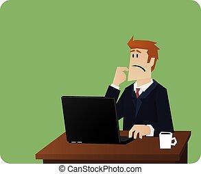 handlowy, myślenie, za, komputer, biurko, człowiek