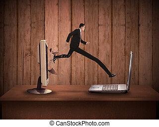 handlowy, noga, laptop, długi, desktop komputer, poza, człowiek