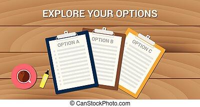 handlowy, opcje, badać, problem, wybór, twój