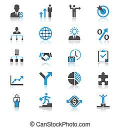 handlowy, płaski, z, odbicie, ikony