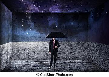 handlowy, parasol, asian, dzierżawa, człowiek