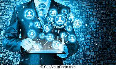 handlowy, pastylka pc, połączenie, towarzyski, używając, człowiek