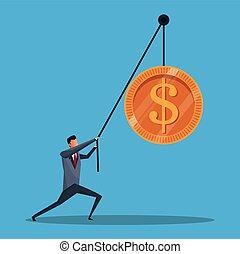 handlowy, pieniądze, dźwig, conecpt, pieniądz, człowiek
