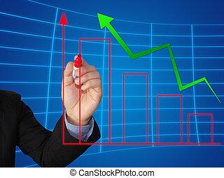 handlowy, pisać, wzrost, wykres