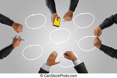 handlowy, planowanie, razem., pracujący, drużyna