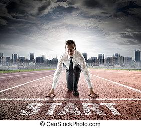 handlowy, początek, -, biznesmen, gotowy
