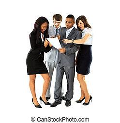 handlowy, podczas, długość, złamanie, dyskutować, biuro, ...