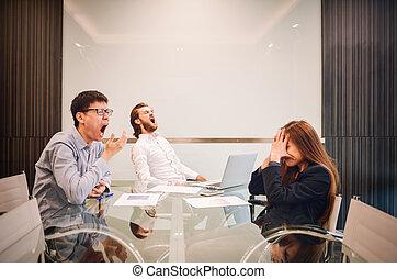 handlowy, pokój, drużyna, multi-ethnic, akcentowany, spotkanie