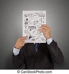 handlowy, powodzenie, pokaz, osłona, ręka, książka, czarnoskóry, biznesmen