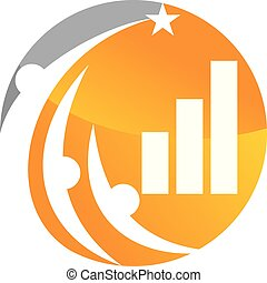 handlowy, powodzenie, wektor, projektować, szablon, logo