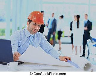 handlowy, praca, umieszczenie., zbudowanie, przystojny, człowiek