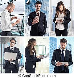 handlowy, praca, z, technologia, collage