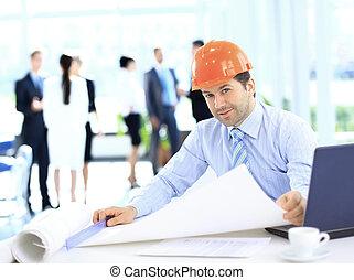 handlowy, pracować umieszczenie, zbudowanie, przystojny, człowiek
