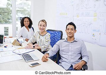 handlowy, pracujące biuro, ludzie