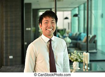 handlowy, pracujące biuro, osoba, asian, uśmiechnięty człowiek