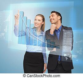 handlowy, pracujące ludzie, ekran, dwa, faktyczny