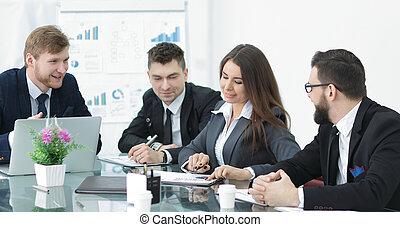 handlowy, pracujące ludzie, startup, projekt, nowy, spotkanie