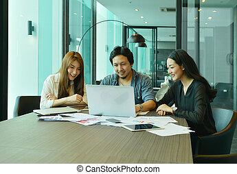 handlowy, pracujące ludzie, teamwork, asian, spotkanie pokój