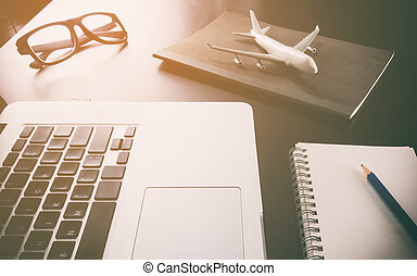 handlowy, pracujący, biuro podróży, komputer, biurko