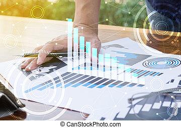 handlowy, pracujący, concept., nowoczesny, ręka, komputer, biznesmen, nowy