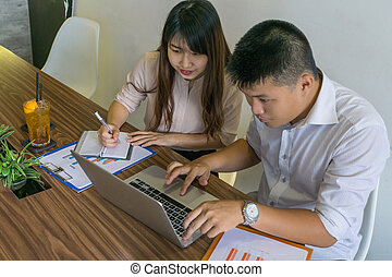 handlowy, pracujący, laptop, pracownik, asian, zameldować, dokument