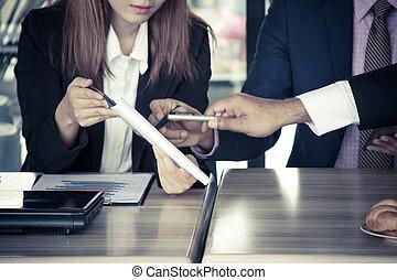 handlowy, pracujący, proces, do góry szczelnie, kawiarnia, spotkanie