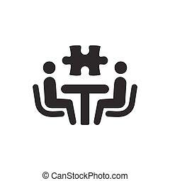 handlowy, problem rozwiązujący, ikona