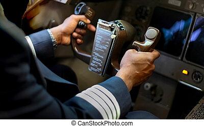 handlowy, przelotny, samolot, siła robocza, afrykanin, oskubany, pilot