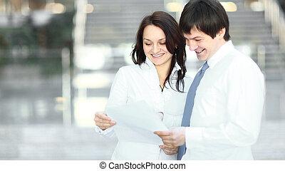 handlowy, przestrzeń, fotografia, ludzie, documents., kopia, dyskutując, closeup.