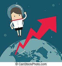 handlowy, przestrzeń, kobieta interesu, concept., przelotny, wykres, wzrost