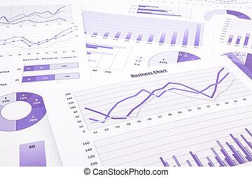 handlowy, purpurowy, wykresy, wstecz, wykresy, summarizing, zameldować, dane