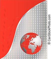 handlowy, red-metallic, abstrakcyjny, -, wektor, tło