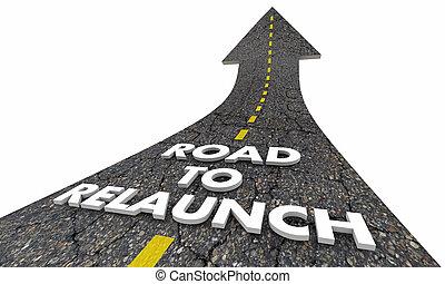 handlowy, relaunch, ilustracja, początek, wodowanie, nowy, droga, 3d