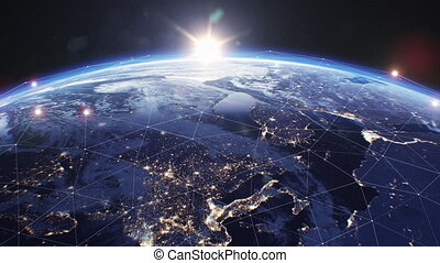 handlowy, ruszt, ultra, przestrzeń, ziemia, sunrise., na, ...