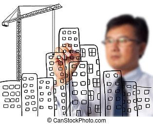 handlowy, rysunek, umieszczenie zbudowania, człowiek