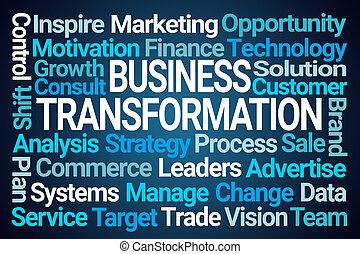 handlowy, słowo, transformacja, chmura
