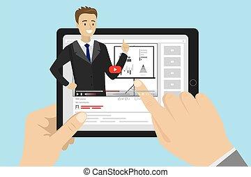 handlowy, samiec, video, wpływ, online, blogger, wykształcenie