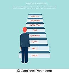 handlowy, schody, powodzenie, concept., do góry, krocząc, ...
