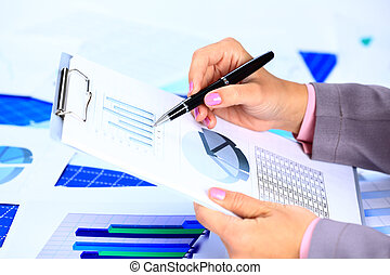 handlowy, spoinowanie, wizerunek, ręka, samica, podczas, dokument, spotkanie, dyskusja