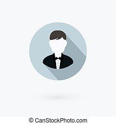 handlowy, suit., wektor, użytkownik, ikona, człowiek