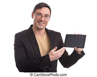 handlowy, tabliczka, ekran, czysty, cyfrowy, widać, człowiek