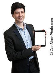 handlowy, tabliczka, ekran, czysty, przedstawiając, palcowy człowiek