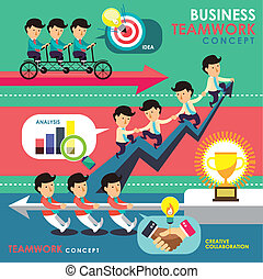 handlowy, teamwork, projektować, płaski, pojęcie