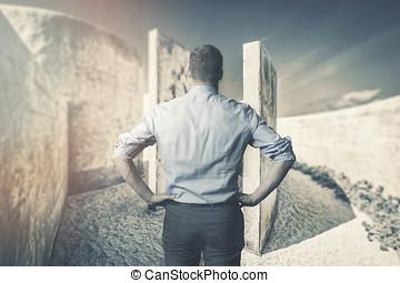 handlowy, trudności, i, challenges., biznesmen, przed, labirynt