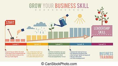 handlowy, twój, szablon, infographics, zręczność, rosnąć